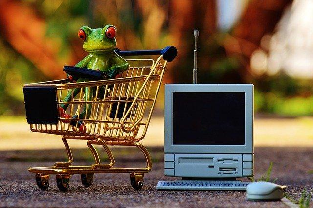 nakupující žába